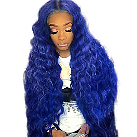 Synthetic Lace Front Wig Wavy Middle Part Lace Front Wig Long Blue Synthetic Hair 18-26 inch Women's Adjustable Heat Resistant Party Blue