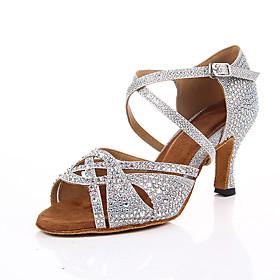 Women's Dance Shoes Latin Shoes / Ballroom Shoes / Line Dance Heel Crystal / Rhinestone / Crystals Slim High Heel Customizable Black / Silver / Performance / S