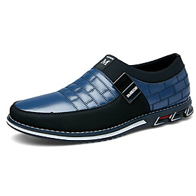 Men's Loafers  Slip-Ons Comfort Shoes Casual Daily Outdoor Nappa Leather Wear Proof Black / Blue / Brown Color Block Spring / Summer / Fall