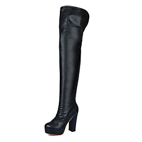 Women's Boots Over-The-Knee Boots Chunky Heel Round Toe PU Over The Knee Boots Business / Classic Spring / Fall  Winter Black / Party  Evening