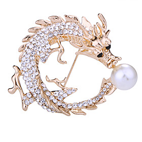 Men's Crystal Brooches Tennis Chain Dragons Creative Animal Luxury Classic Basic Rock Fashion Imitation Pearl Rhinestone Brooch Jewelry Gold Silver For Wedding