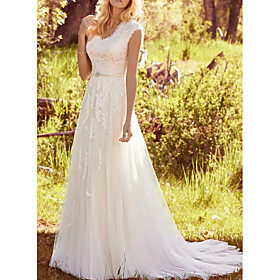 A-Line Wedding Dresses V Neck Sweep / Brush Train Lace Tulle Regular Straps Vintage Illusion Detail with Sashes / Ribbons Buttons 2020