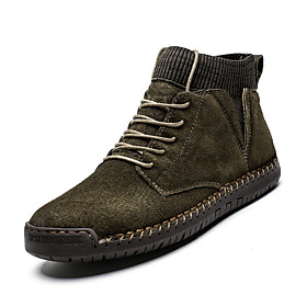 Men's Boots Fashion Boots Work Boots Classic / Casual Daily Walking Shoes Pigskin Warm Non-slipping Booties / Ankle Boots Black / Army Green / Burgundy Fall  W