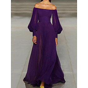 A-Line Vintage Purple Wedding Guest Formal Evening Dress Off Shoulder Long Sleeve Sweep / Brush Train Chiffon with Pleats 2020