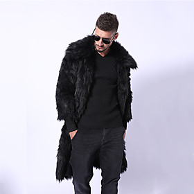 Men's / N / A Going out Winter Long Fur Coat, Solid Colored Turndown Long Sleeve Faux Fur Black / Yellow