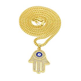 Men's Women's AAA Cubic Zirconia Pendant Necklace Y Necklace Classic Eyes Hand Evil Eye European Trendy Rock Fashion Zircon Copper Gold 60 cm Necklace Jewelry