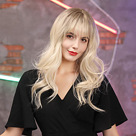 Synthetic Wig Bangs Wavy Neat Bang With Bangs Wig Blonde Long Light golden Synthetic Hair 16 inch Women's Cosplay Women Synthetic Blonde HAIR CUBE / Ombre Hair