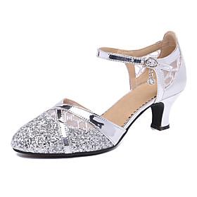 Women's Dance Shoes Modern Shoes / Ballroom Shoes / Line Dance Heel Cuban Heel Customizable Black / Gold / Silver / Performance