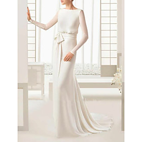 Sheath / Column Wedding Dresses Bateau Neck Sweep / Brush Train Floor Length Satin Tulle Long Sleeve Simple Elegant with Bow(s) Buttons 2020