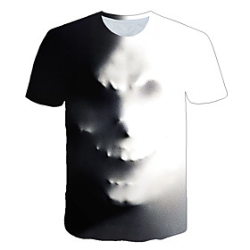 Men's 3D Graphic Print T-shirt Street chic Exaggerated Daily Casual Round Neck Gray / Summer / Short Sleeve / Skull