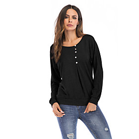 Women's T-shirt Solid Colored Long Sleeve Round Neck Tops Loose Cotton Basic Streetwear Basic Top Black Blushing Pink