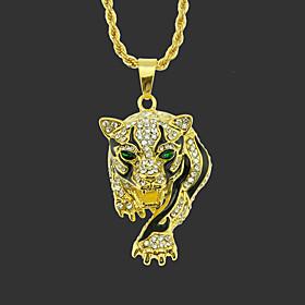 Men's Pendant Necklace Long Necklace Classic Tiger Unique Design Fashion Gold Plated Chrome Gold Silver Hawk Golden Leopard Silver Leopard 75 cm Necklace Jewel