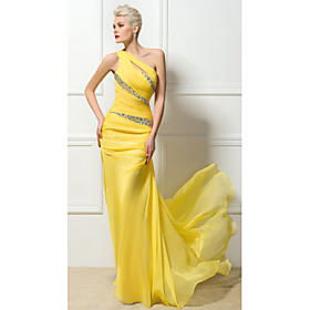Sheath / Column Sexy Yellow Engagement Formal Evening Dress One Shoulder Sleeveless Sweep / Brush Train 30D Chiffon with Ruched Crystals Sequin 2020