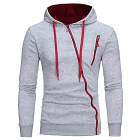 Men's Hoodie Zip Up Hoodie Color Block Hooded Casual Hoodies Sweatshirts  White Black Light gray