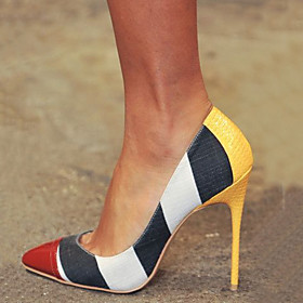 Women's Heels Stiletto Heel Pointed Toe PU Spring   Fall Yellow / Color Block