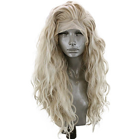 Synthetic Lace Front Wig Wavy Side Part Lace Front Wig Blonde Long Light golden Synthetic Hair 18-26 inch Women's Adjustable Heat Resistant Party Blonde