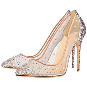 Women's Heels Glitter Crystal Sequined Jeweled Stiletto Heel Pointed Toe Rhinestone Mesh Spring  Summer Nude / Party  Evening / Party  Evening