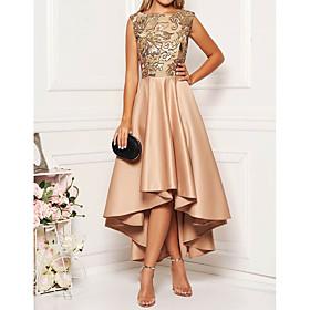 Women's Asymmetrical A Line Dress - Sleeveless Floral Solid Color Print Spring Fall Elegant Cocktail Party Prom Birthday 2020 Khaki M L XL XXL XXXL XXXXL XXXXX