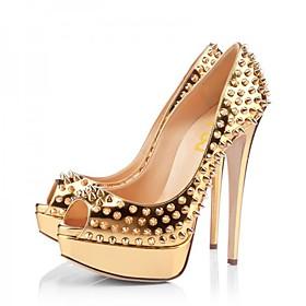 Women's Heels Stiletto Heel Peep Toe Rivet PU Spring   Fall Gold