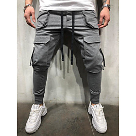 Men's Basic Cotton Chinos Pants Solid Colored Classic White Black Gray US32 / UK32 / EU40 US34 / UK34 / EU42 US36 / UK36 / EU44 / Drawstring