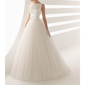 Ball Gown Wedding Dresses Bateau Neck Sweep / Brush Train Satin Tulle Regular Straps Simple Backless with Bow(s) 2020
