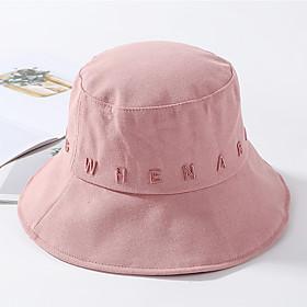 Women's Active Basic Cute Cotton Floppy Hat Sun Hat-Color Block All Seasons Black White Blushing Pink