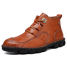 Men's Boots Casual Daily Outdoor Walking Shoes Leather Wear Proof Booties / Ankle Boots Light Brown / Black Fall / Winter