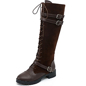 Women's Boots Knee High Boots Chunky Heel Round Toe Suede Knee High Boots Fall  Winter Black / Brown / Coffee
