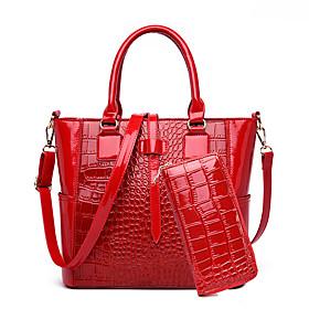 Women's Zipper Patent Leather Bag Set Solid Color 2 Pieces Purse Set Black / Brown / Red