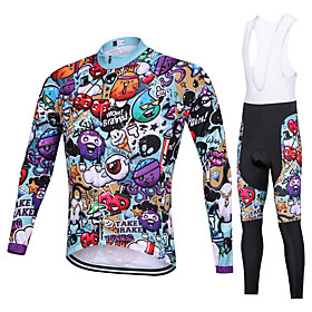Men's Long Sleeve Cycling Jersey with Tights Winter Elastane Violet Bike Clothing Suit Thermal / Warm Breathable Quick Dry Anatomic Design Moisture Wicking Spo