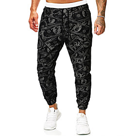 Men's Basic Daily Going out Slim Sweatpants Pants Pattern Drawstring Fall Winter Black S M L