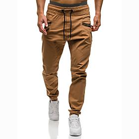 Men's Basic Slim Chinos Pants Camouflage Black Khaki Gray US36 / UK36 / EU44 US38 / UK38 / EU46 US40 / UK40 / EU48 / Drawstring / Elasticity