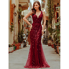Mermaid / Trumpet Sparkle Sexy Prom Formal Evening Valentine's Day Dress V Neck Sleeveless Floor Length Tulle Sequined with Sequin Applique