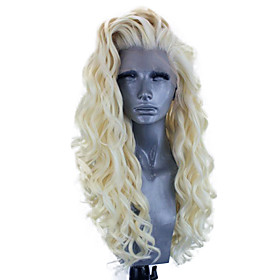 Synthetic Lace Front Wig Wavy Side Part Lace Front Wig Blonde Long Pink Bleach Blonde#613 Green Black / Grey Purple Synthetic Hair 18-26 inch Women's Adjustabl