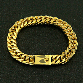 Men's Chain Bracelet Cut Out Precious Simple Fashion Gold Plated Bracelet Jewelry Gold For Street