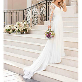 A-Line Wedding Dresses V Neck Sweep / Brush Train Chiffon Lace Long Sleeve Romantic Illusion Sleeve with Lace Insert 2020