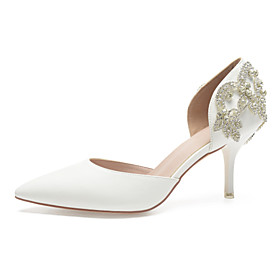 Women's Wedding Shoes Glitter Crystal Sequined Jeweled Plus Size Stiletto Heel Pointed Toe Sweet British Wedding Rhinestone Sparkling Glitter Solid Colored PU