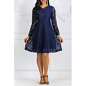 Women's A-Line Dress Knee Length Dress - Long Sleeve V Neck Black Red Navy Blue M L XL XXL 3XL 4XL 5XL