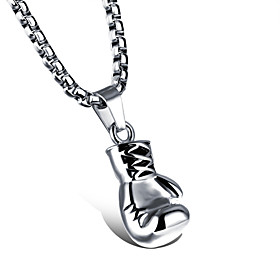 Men's Pendant Necklace Engraved Boxing Gloves Punk Titanium Steel Gold Silver 55 cm Necklace Jewelry 1pc For Gift School Street Club Promise