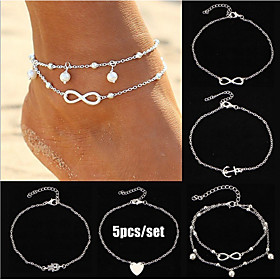 Ankle Bracelet Women's Body Jewelry For Gift Daily Alloy Gold Silver 5pcs