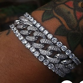 Men's Vintage Bracelet Earrings / Bracelet Tennis Chain Lucky Vintage Trendy Rock Fashion Imitation Diamond Bracelet Jewelry White / Silver For Daily School St