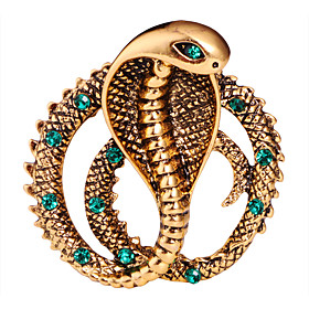 Men's Crystal Brooches Classic Snake Creative Animal Statement Classic Basic Rock Fashion Rhinestone Brooch Jewelry Gold Silver For Wedding Daily Street Work C