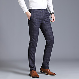Men's Basic Dress Pants Pants - Plaid / Checkered Navy Blue Gray US34 / UK34 / EU42 / US36 / UK36 / EU44 / US38 / UK38 / EU46