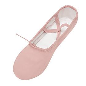 Women's Ballet Shoes Flat Flat Heel Canvas Camel / Black / Pink / Performance / Practice