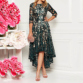 Women's A-Line Dress Midi Dress - Half Sleeve Floral Solid Color Lace Spring  Summer All Seasons Elegant Hot Lace Slim 2020 Green M L XL XXL