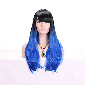 Synthetic Wig Body Wave Layered Haircut Asymmetrical Wig Long Black / White Black / Blue Synthetic Hair 24 inch Women's Fashionable Design Women Blue White
