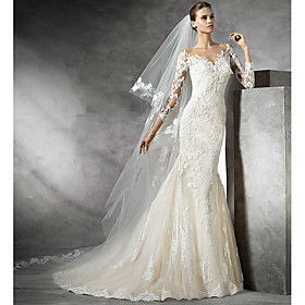 Mermaid / Trumpet Wedding Dresses V Neck Sweep / Brush Train Lace 3/4 Length Sleeve Sexy Illusion Sleeve with Lace Insert 2020