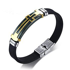 Men's Leather Bracelet Geometrical Cross Stylish Alloy Bracelet Jewelry Black For Daily