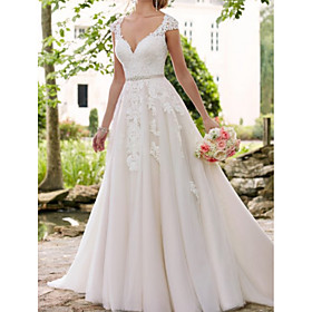 A-Line Wedding Dresses V Neck Sweep / Brush Train Lace Tulle Regular Straps Formal Mordern Illusion Detail with Sashes / Ribbons Crystals Lace Insert 2020