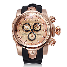 Men's Sport Watch Quartz Outdoor Chronograph Analog GoldenBlack Rose Gold Black / Rose Gold / Two Years / Silicone / Japanese / Large Dial / Japanese